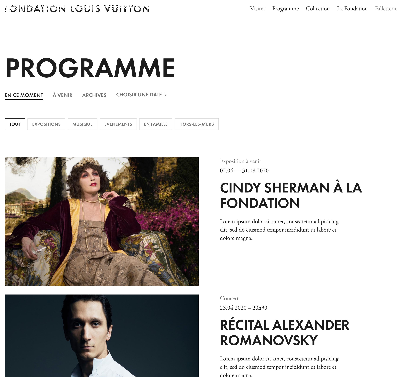 Foundation Louis Vuitton | Schedule