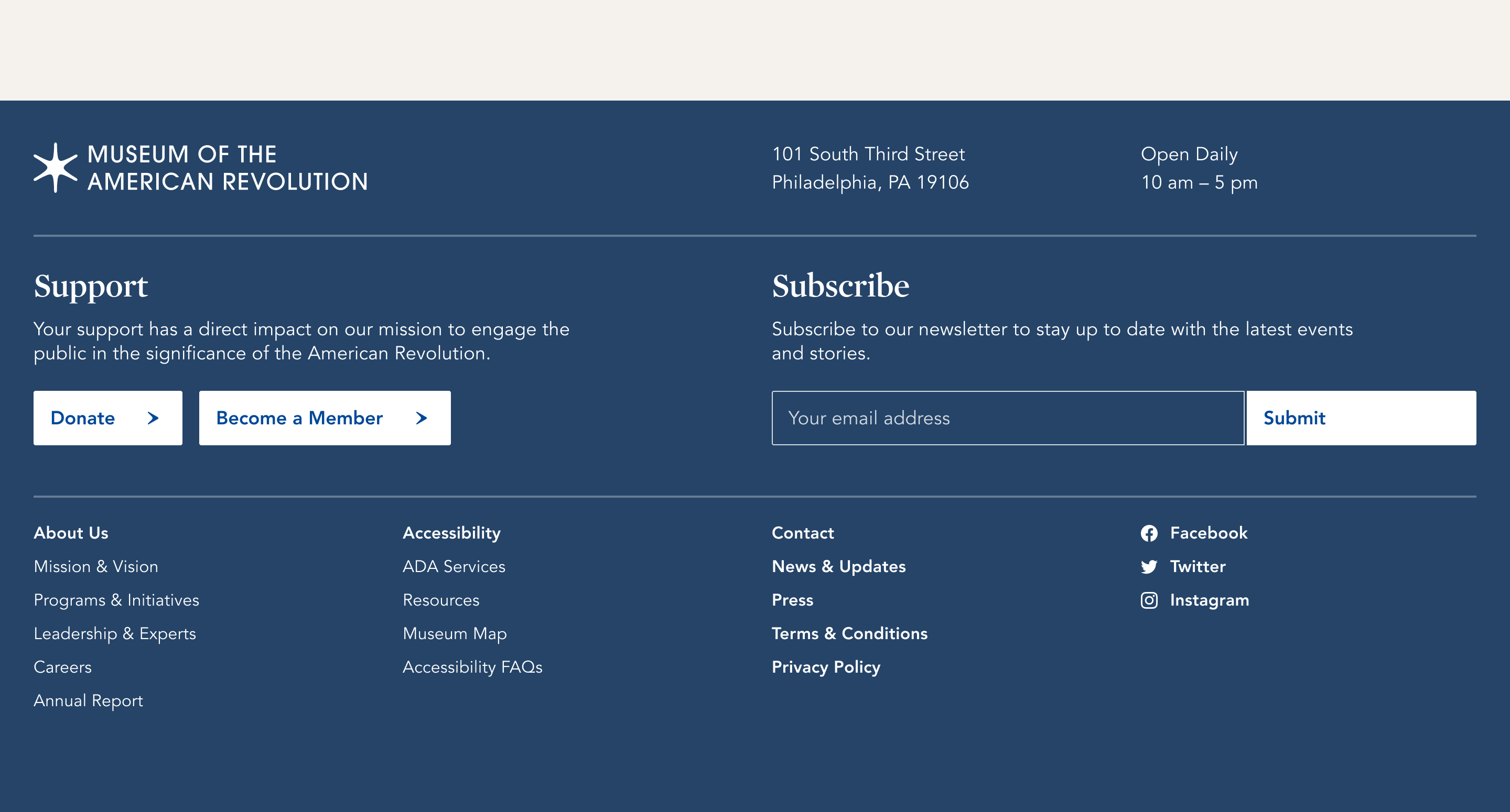 Museum Of The American Revolution   Footer